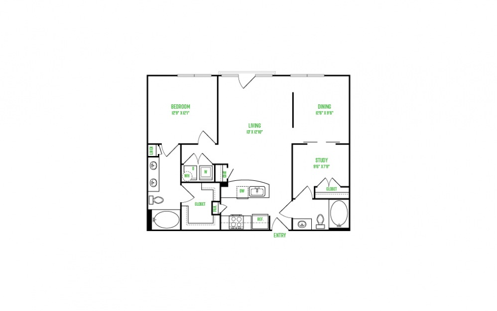 A10 - 1 bedroom floorplan layout with 1 bath and 1053 square feet.