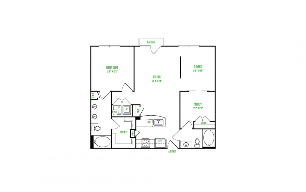A11 - 1 bedroom floorplan layout with 1 bath and 1067 square feet.