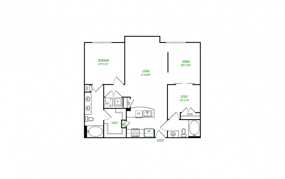 A12 - 1 bedroom floorplan layout with 1 bath and 1076 square feet.