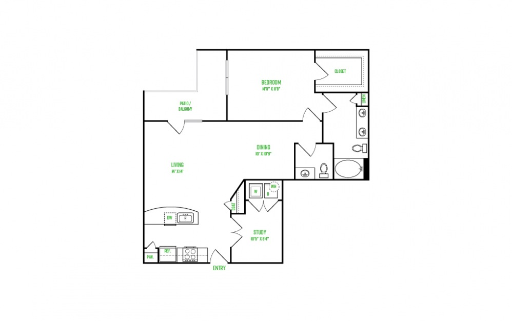 A14 - 1 bedroom floorplan layout with 1 bath and 1116 square feet.