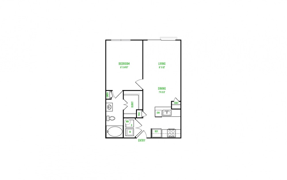 A2 - 1 bedroom floorplan layout with 1 bath and 669 to 669 square feet.