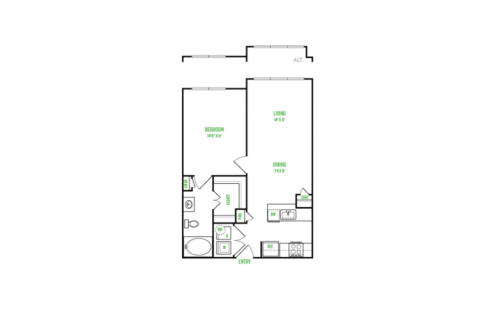A4 - 1 bedroom floorplan layout with 1 bath and 692 square feet.