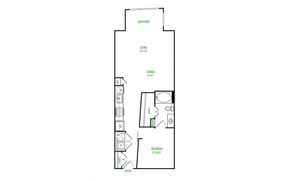 A8 - 1 bedroom floorplan layout with 1 bath and 846 square feet.