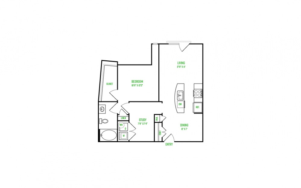 A9  - 1 bedroom floorplan layout with 1 bath and 861 square feet.
