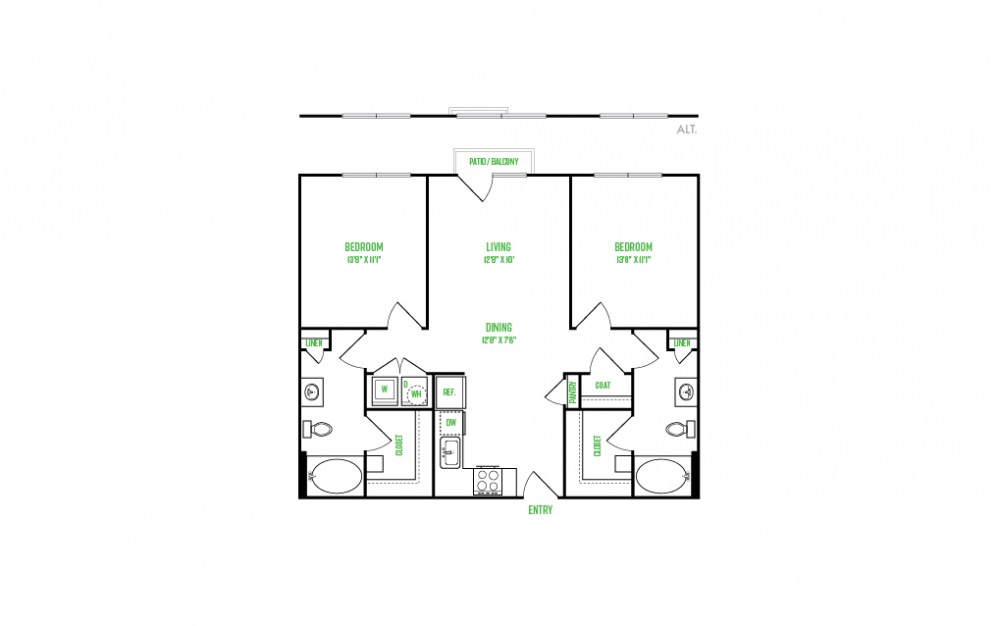 B1 - 2 bedroom floorplan layout with 2 baths and 1067 square feet.