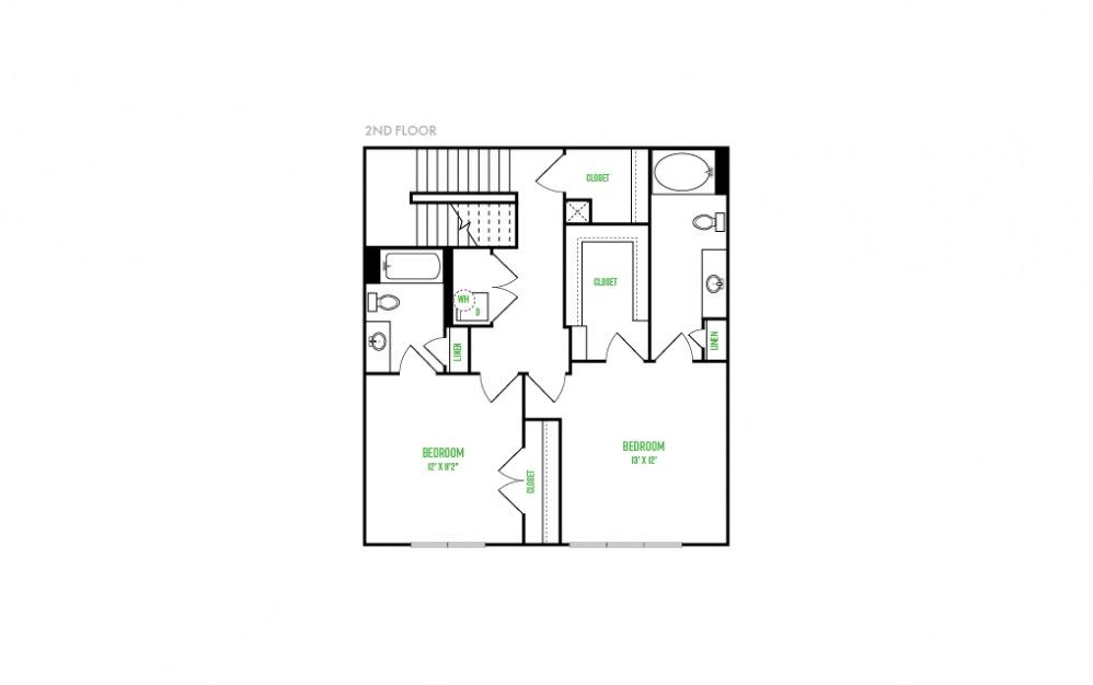 B11 - 2 bedroom floorplan layout with 2.5 baths and 1531 square feet. (Floor 2)