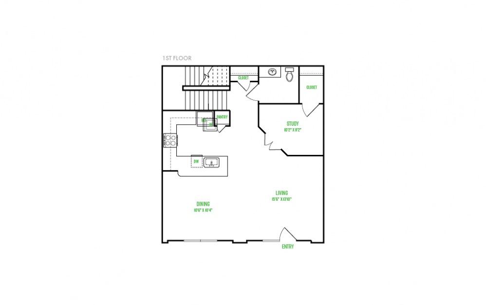 B11 - 2 bedroom floorplan layout with 2.5 baths and 1531 square feet. (Floor 1)