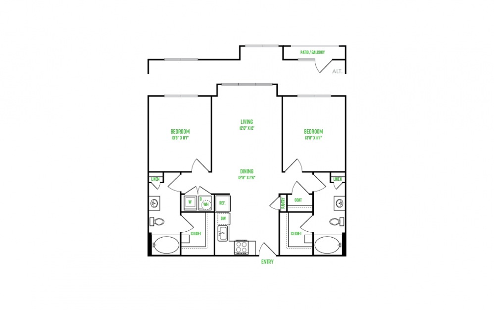 B3 - 2 bedroom floorplan layout with 2 baths and 1102 square feet.