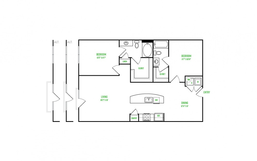 B7 - 2 bedroom floorplan layout with 2 baths and 1166 to 1194 square feet.