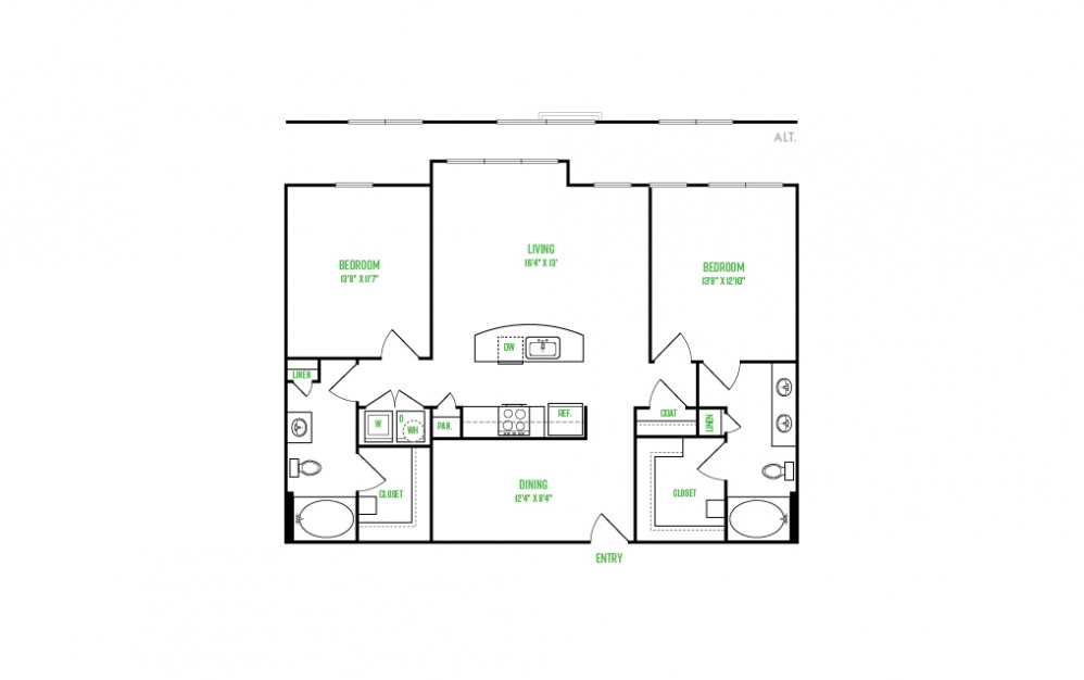 B8 - 2 bedroom floorplan layout with 2 baths and 1252 square feet.