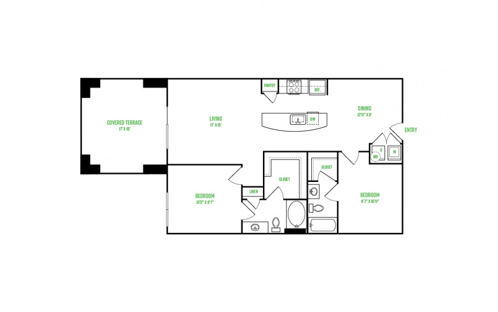 B9 - 2 bedroom floorplan layout with 2 baths and 1406 square feet.