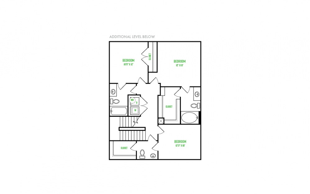 C1 - 3 bedroom floorplan layout with 4 baths and 1665 square feet. (Floor 2)