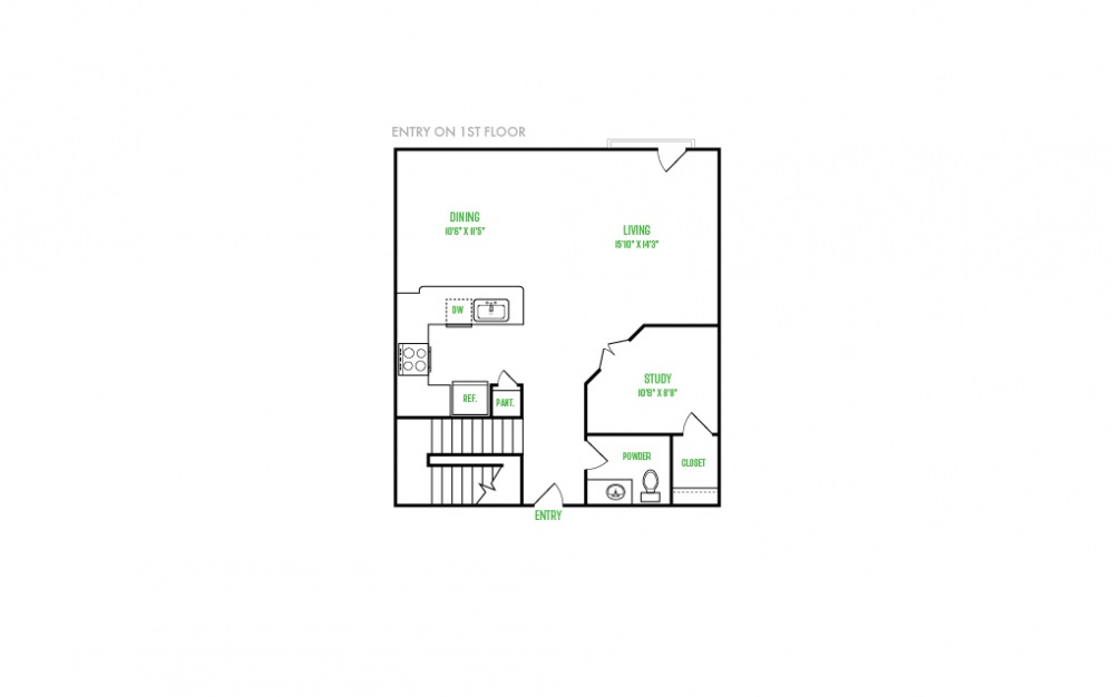 C1 - 3 bedroom floorplan layout with 4 baths and 1665 square feet. (Floor 1)